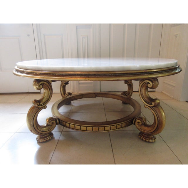 Italian Gold & Marble Coffee Table - Image 4 of 11