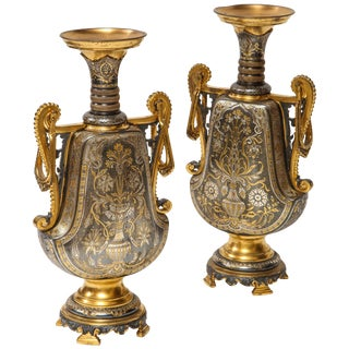 "Christofle & Cie, a Pair of French Gilt and Silvered Bronze ""Persian"" Vases For Sale"