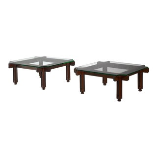 Pair Large Wooden Frame Coffee Tables, Italy