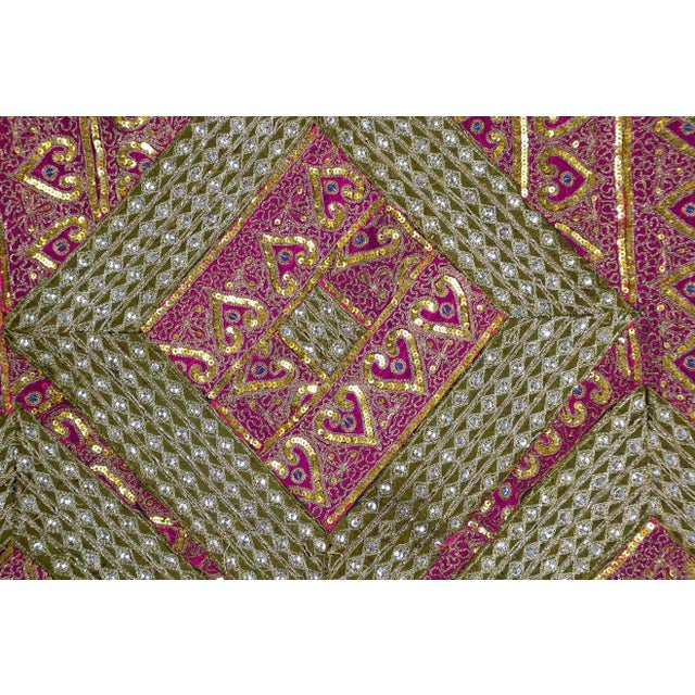 Mughal Style Metal Threaded Tapestry Framed from Rajasthan, India For Sale - Image 4 of 13