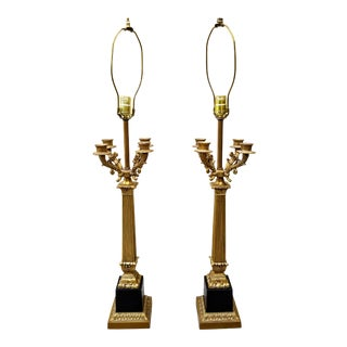 Vintage Neoclassical 4-Arm Black & Gold Buffet Lamps - a Pair For Sale