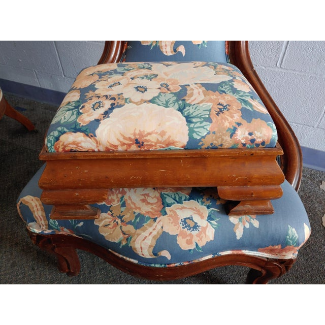 American Antique Slipper Chairs & Ottoman, 3 Pieces For Sale - Image 3 of 10