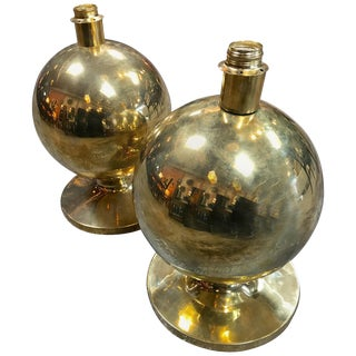 Pair of Italian Brass Globe Lamps, 1960s For Sale