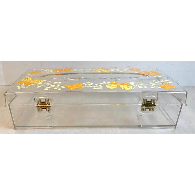 Mid 20th Century Vintage Lucite Painted Tissue Box Cover For Sale - Image 5 of 10