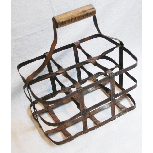Cottage 1930s French Metal 6 Bottle Wine Carrier For Sale - Image 3 of 8