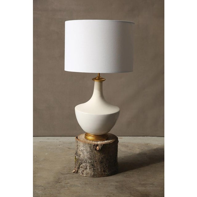 """16"""" Round x 27""""H Ceramic Table Lamp with Linen Shade, Cream"""