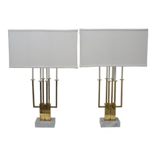 Pair of Large Scale Stiffel Brass and Marble Table Lamps For Sale
