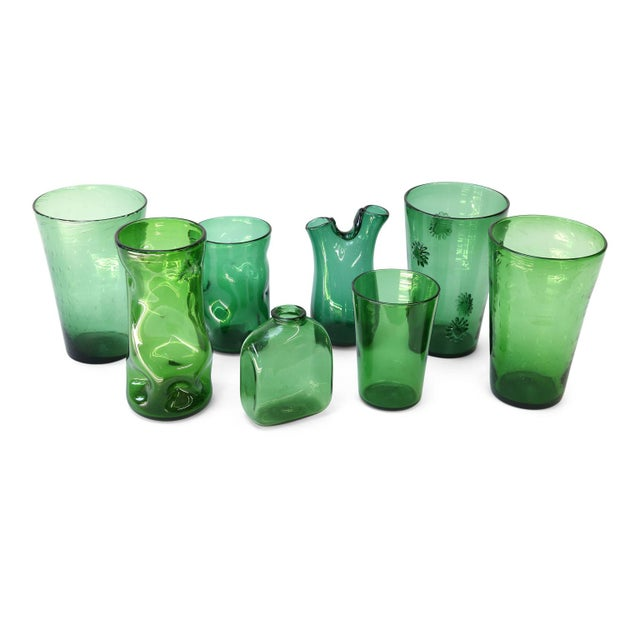 Glass Italian Green Glass Vase by Empoli For Sale - Image 7 of 8