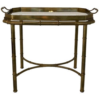 Faux Bois Campaign Style Patinated Brass Tray Table, by Mastercraft For Sale