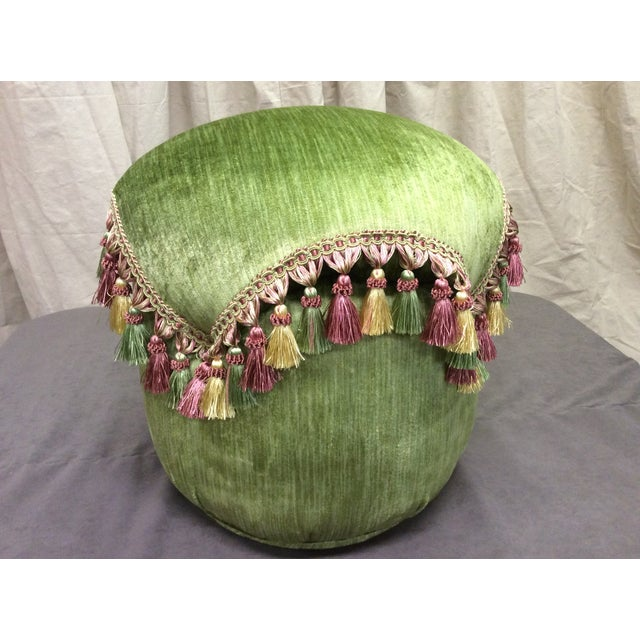 """Green tassel Ottoman professionally handmade in green velvet with yellow, green and mauve tone fringe. This ottoman is 17""""..."""