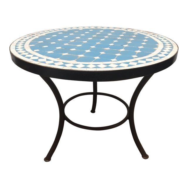 Moroccan Mosaic Outdoor Blue Tile Side Table on Low Iron Base For Sale