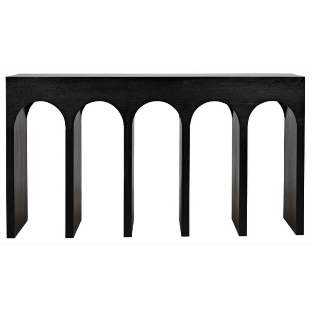 Wood Bridge Console, Hand Rubbed Black For Sale - Image 7 of 7