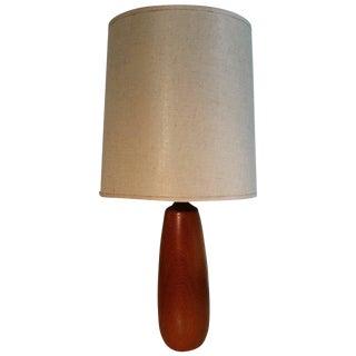 Danish Hand-Turned Teak Wood Modernist Lamp For Sale