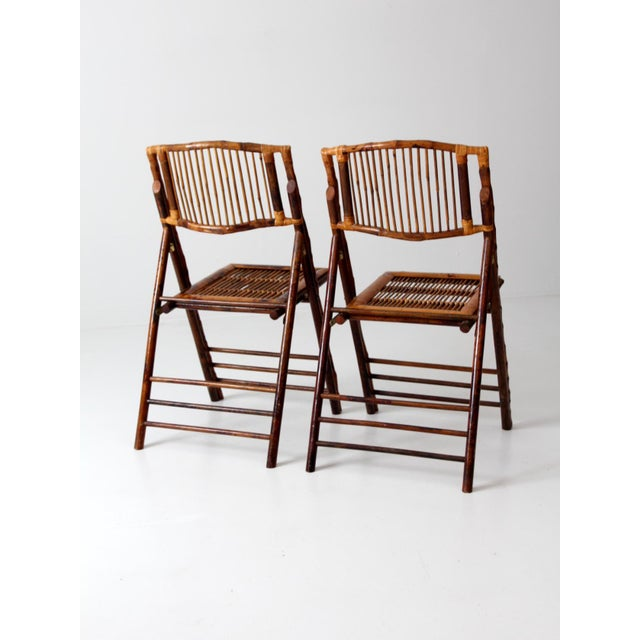 Vintage Bamboo Folding Chairs - a Pair For Sale - Image 6 of 10