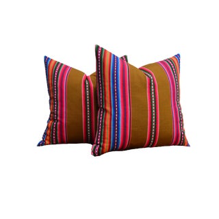 """Pair of Custom 22"""" Mexican Textile Pillows For Sale"""