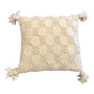 Boho Wool Pillow With Tassels For Sale