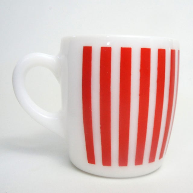 Hazel Atlas Red Striped Milk Glass Mugs – Set of 6 - Image 4 of 5