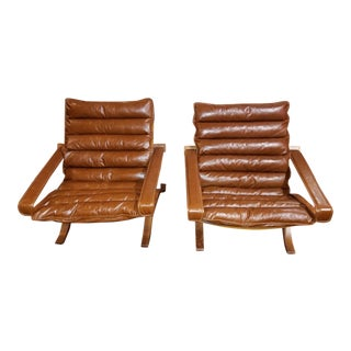 Vintage Mid Century Ingmar Relling Swcandinavian Cognac Flex Safari Lounge Chairs- a Pair For Sale
