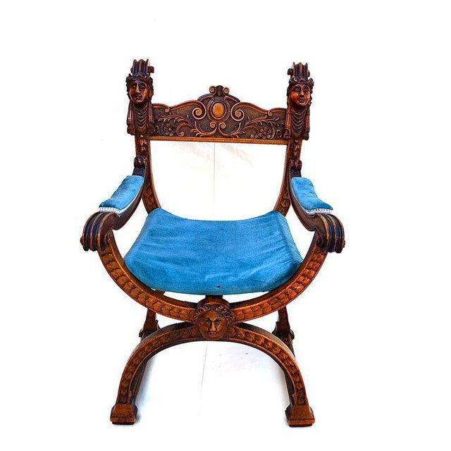 Late 19th Century Blue & Brown Throne For Sale - Image 4 of 4