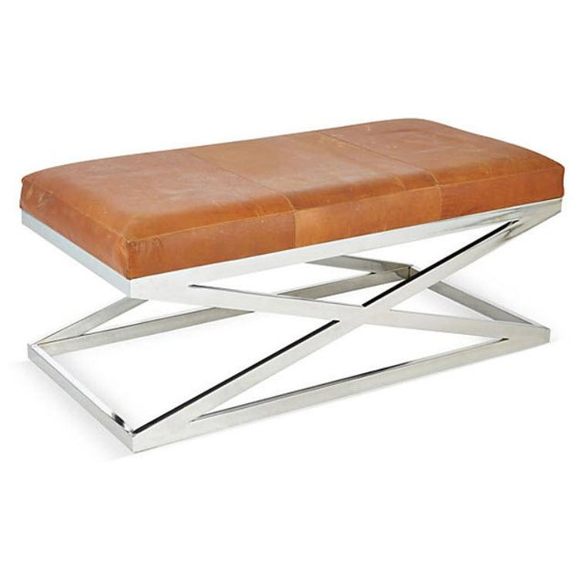 Taylor Burke Leather and Chrome Bench - Image 2 of 3