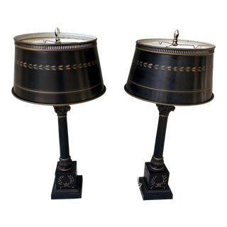 French Empire Table Lamps W/Tole Shades - a Pair For Sale