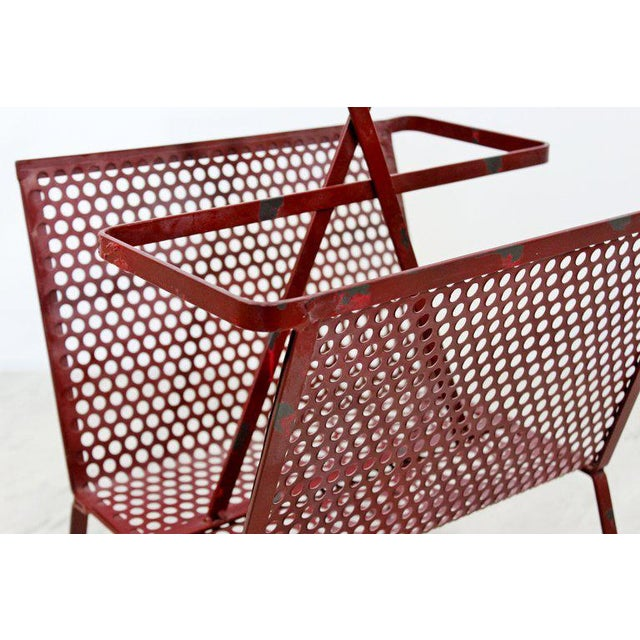 Mid-Century Modern Vintage Red Wire Mesh Magazine Rack For Sale In Detroit - Image 6 of 8