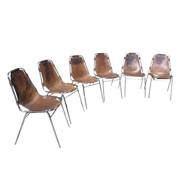 Charlotte Perriand Les Arcs Steel & Leather Chairs - Set of 6 For Sale