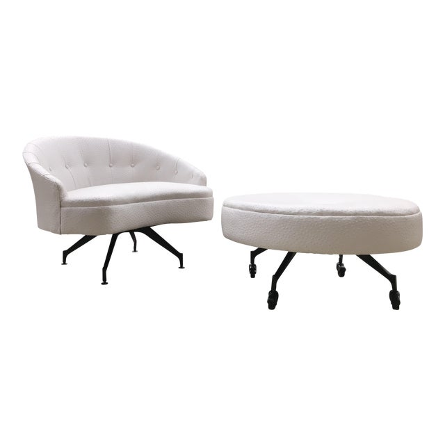 Mid-Century-Modern Round Lounge Chair and Ottoman Space-Age White Vinyl For Sale