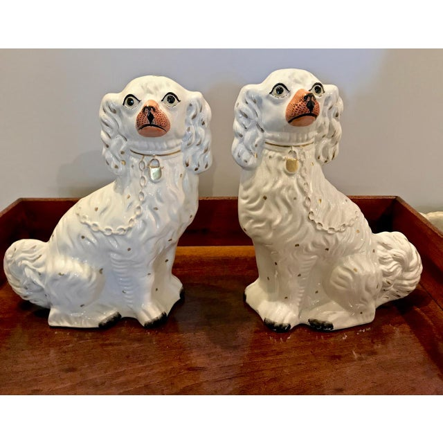 Pair Large English Staffordshire Spaniels, C. 1860 For Sale - Image 9 of 10