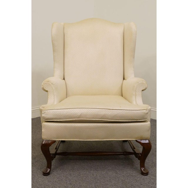 Hickory Chair Upholstered Mahogany Wing Back Chair For Sale - Image 9 of 9