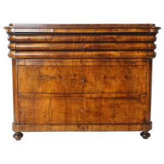 Biedermeier Walnut Commode or Chest of Unusual Form, Austria, Circa 1840 For Sale