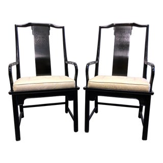 Century Chin Hua Raymond Sobota Asian Chinoiserie Dining Captain's Arm Chairs - Pair For Sale