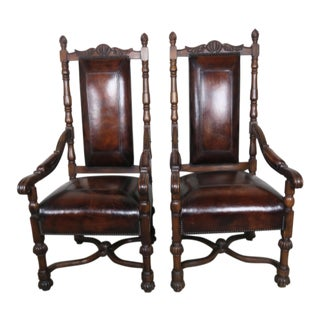 Pair of English Leather Mahogany Armchairs For Sale