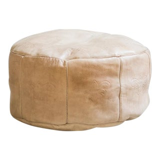 Antique Revival Nude Leather Pouf Ottoman For Sale