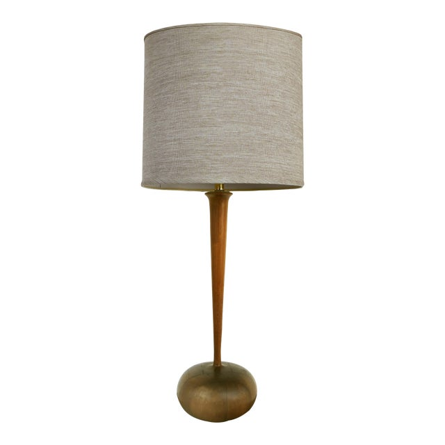 Studio Mid-Century Modern Turned Wood Lamp For Sale