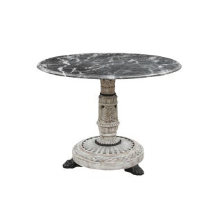 1940s Neoclassical Round Marble Top Table For Sale