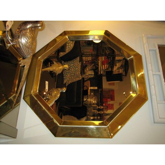 Vintage Modern Brass Octagon Mirror - Image 2 of 3