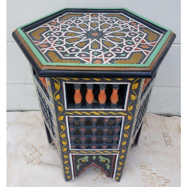 Moroccan Hexagonal Hand Painted Wooden End Table For Sale In Orlando - Image 6 of 7
