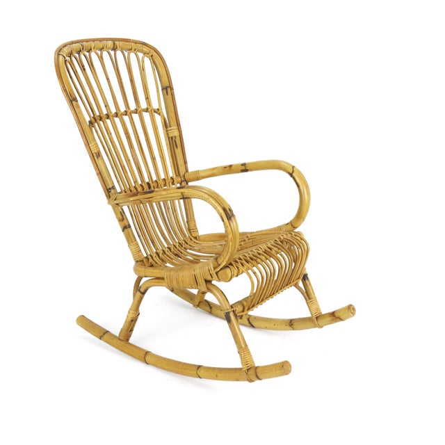 1950s Franco Albini Style Rattan Bamboo Rocking Chair - Image 2 of 5