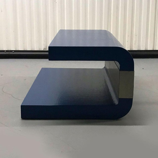 Lacquer 1970s Cobalt Blue Grasscloth Covered C-Shaped Table For Sale - Image 7 of 12