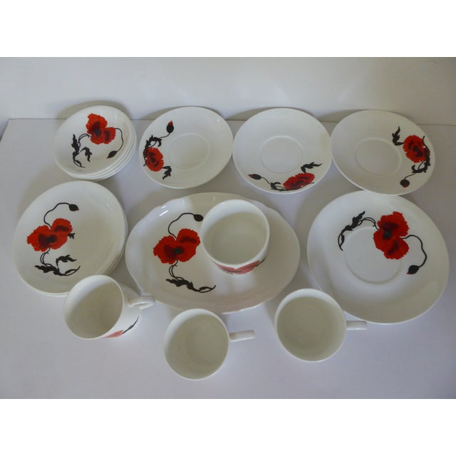 "Susie Cooper for Wedgewood ""Corn Poppy"" Luncheon Sets - Set of 17 For Sale In Portland, OR - Image 6 of 9"