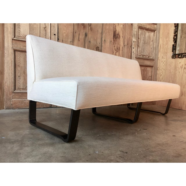 White Vintage Mid Century Edward Wormley for Dunbar Slipper Sofa For Sale - Image 8 of 13