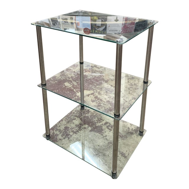 1970s Mid-Century Modern 3-Tier Chrome and Glass Side Table For Sale
