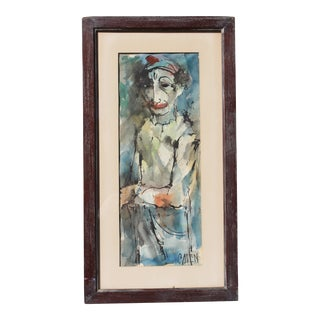 "Mid-Century Modern ""Instinctively Signed"" Clown Painting For Sale"