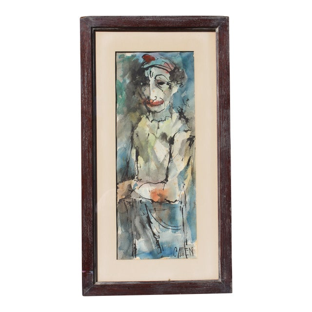 """Mid-Century Modern """"Instinctively Signed"""" Clown Painting For Sale"""