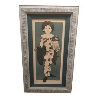 """Philippe Henri Noyer """"Girl in Harlequin Costume Holding Dachshund"""", 1964 For Sale"""
