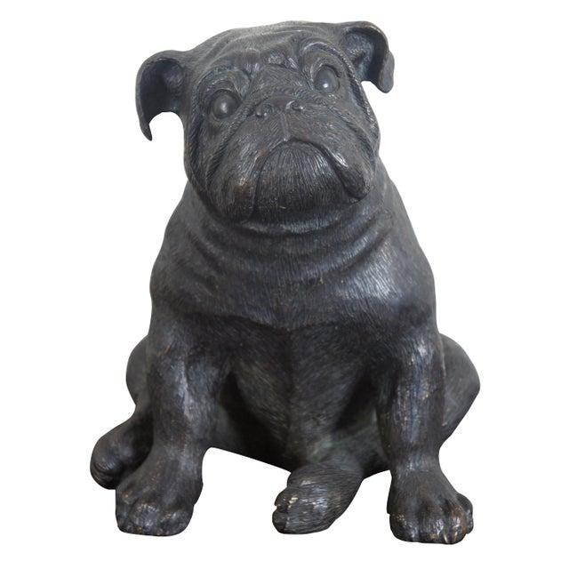 Theodore Alexander Seated British Bulldog Pug Dog Bronze Sculpture For Sale - Image 11 of 11