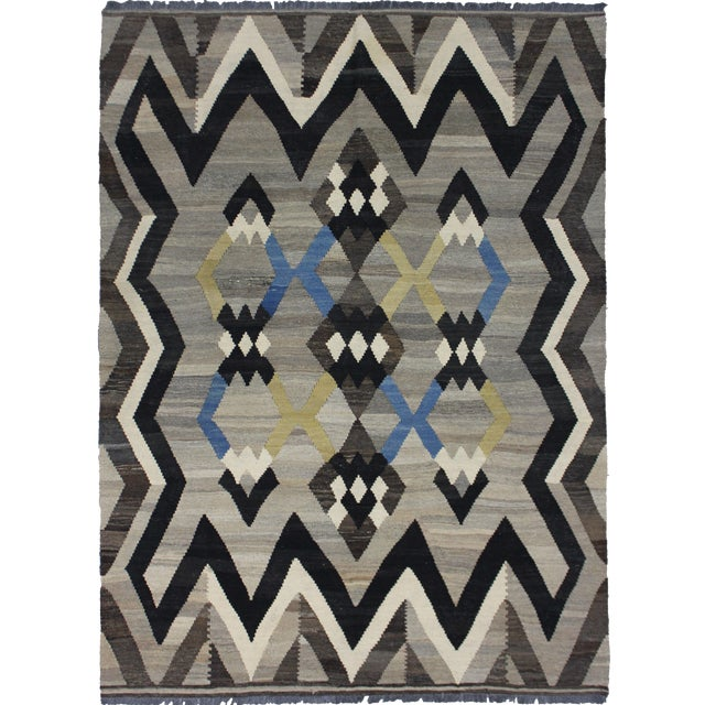 "Hand-Knotted Modern Kilim - 6'10"" X 5' For Sale"