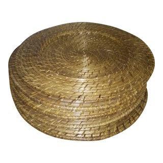 1950s Vintage Round Wicker Chargers - Set of 6 For Sale