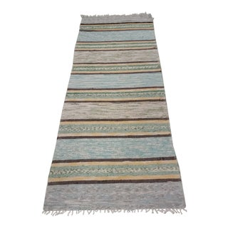 Vintage Mid-Century Swedish Handmade Rag Rug - 2′4″ × 6′9″ For Sale